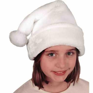 Witte pluche kerstmutsen voor kinderen kopen