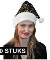 10x stijlvol kerstmutsje zwart goud