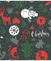 1x rollen kerst inpakpapier cadeaupapier zwart 2 5 x 0 7 meter