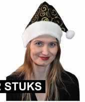 2x stijlvol kerstmutsje zwart goud