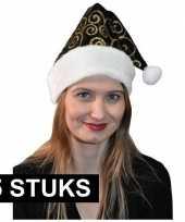 5x stijlvol kerstmutsje zwart goud