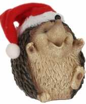Egel met kerstmuts beeldjes kerstbeeldjes 9 x 8 cm