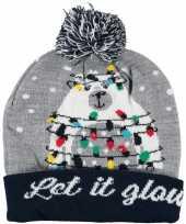Foute kerstmutsen mutsen wintermutsen let it glow met verlichting