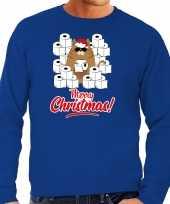 Foute kerstsweater outfit met hamsterende kat merry christmas blauw voor heren