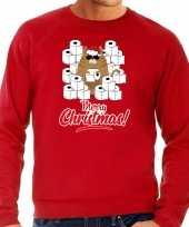 Foute kerstsweater outfit met hamsterende kat merry christmas rood voor heren