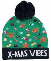Foute kinder kerstmutsen wintermutsen x mas vibes met verlichting