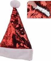 Glimmende verander wrijfbare pailletten kerstmutsen rood zilver