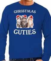 Kitten kerst sweater outfit christmas cuties blauw voor heren