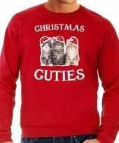 Kitten kerst sweater outfit christmas cuties rood voor heren